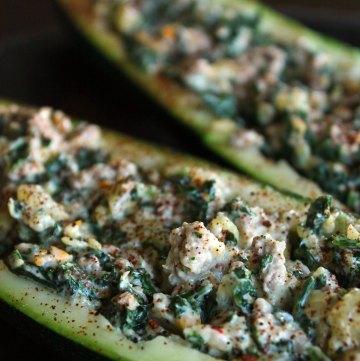 Cheesy Kale and Turkey stuffed Zucchini Boats Portrait