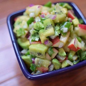 Kiwi and Nectarine Salsa with Avocado Portrait