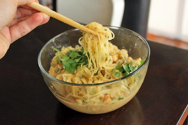 Spicy 'Noodle' (aka Spaghetti Squash) Bowl With Peanuts and Cilantro