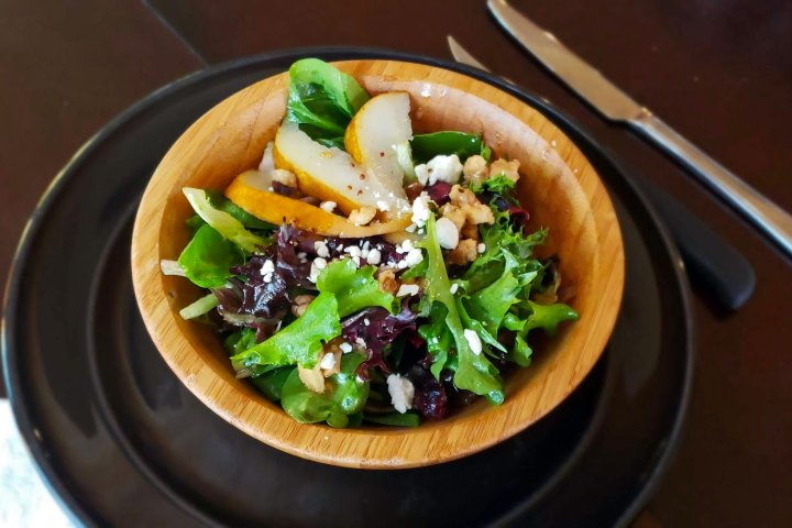 salad with pear and maple dijon dressing