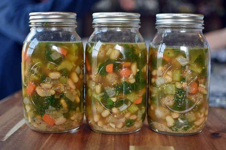 Meatball and White Bean Soup with Kale in Mason Jars
