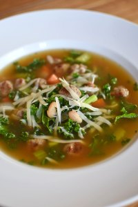 Meatball and White Bean Soup with Kale Portrait