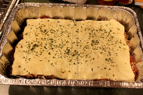 Deep Dish Crescent Pizza Casserole - before bake