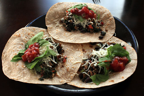 Kale, Turkey and Black Bean Taco Filling - soft shell