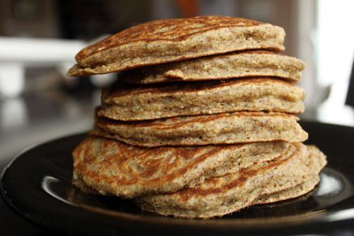 Banana Almond Oat Pancakes