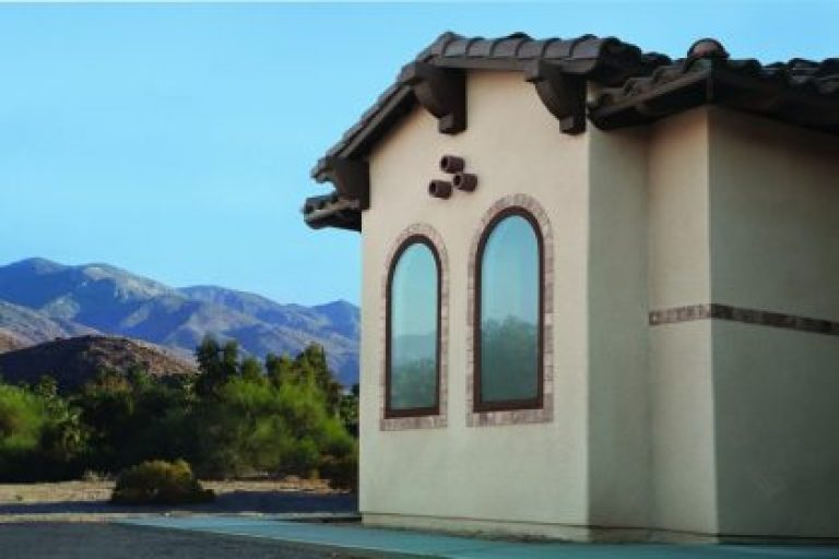Green sustainable window replacement. 100 Series Springline Specialty Fixed Windows, Cocoa Bean Spanish Colonial Home Style