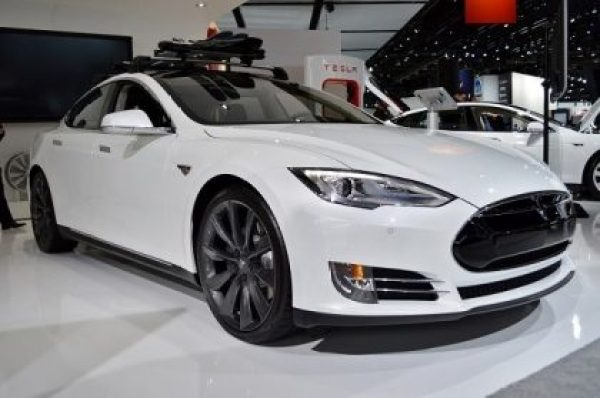front end of Tesla Model S white EV NAIAS 2014
