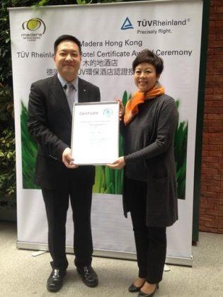 Madera Hong Kong Becomes First in Hong Kong and Mainland China to Gain TUV Rheinland Eco-Hotel Certification
