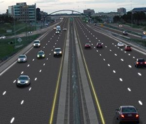 Artist's rendition of an interstate at dusk Graphic artist: Sam Cornett