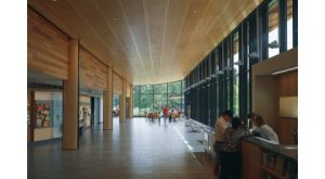 The Morton Arboretum Visitor Center features natural materials, including woods represented in the Arboretum's collections, gently weathering lead-coated copper, and local fieldstone salvaged from a predecessor building.