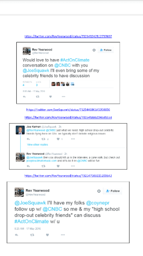 twitter chat between Joe Kernen and CNBC and Reverend Yearwood of Hip Hop Caucus