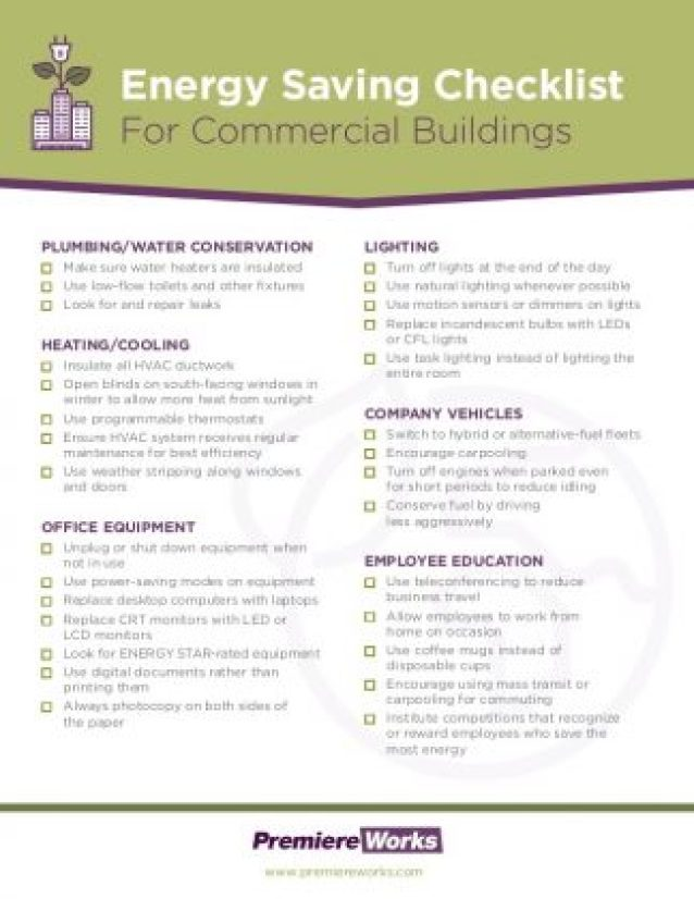 Industrial businesses and Commercial building energy efficiency checklist