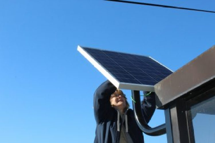 Eastern Michigan University is installing solar panels at community bus stops around campus.