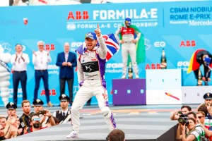 Photo caption: DS Virgin Racing's Sam Bird celebrates victory during today's inaugural Formula E Rome E-Prix