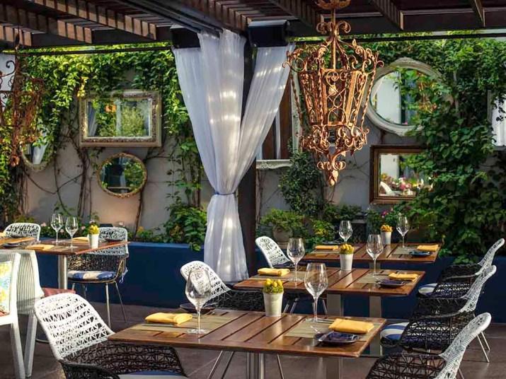Sofitel Los Angeles green terrace for breakfast in LA