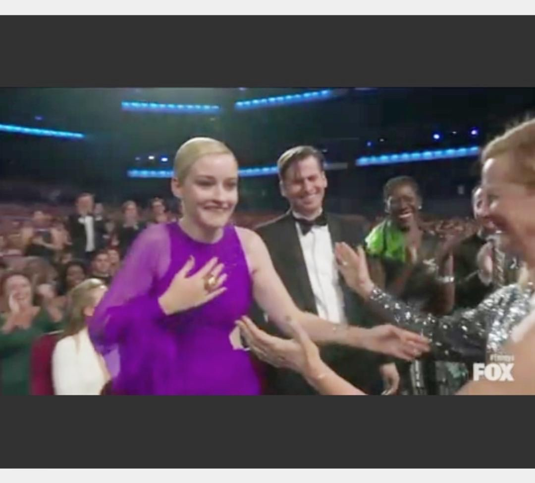Gwen can be seen on right. Just as the beautiful Julia Garner actress wins from her show Ozark (dark blonde guy in middle is her fiance Mark) an ECO dress made history.As repurposing or recylcing goes:
