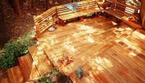 sustainable redwood deck in forest