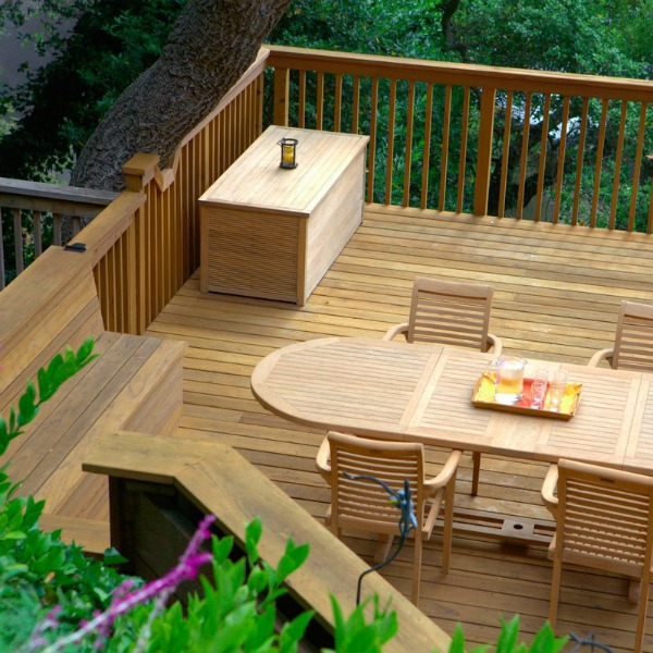 sustainable redwood deck with table