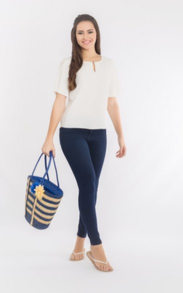 White blouse by Santorini – a brand of Zhai, Singapore's first eco-friendly and vegan fashion label