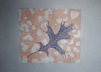 Three plate linoprint with home made inks