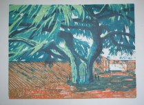 Single plate plus reduction plate woodcut in watercolours