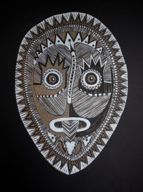 Reduction linocut on black paper