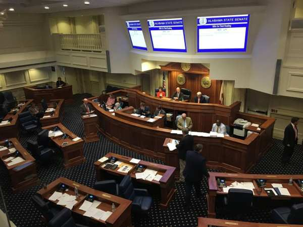 Sen. Larry Stutts, R-Sheffield, at the lectern on the left, argues against a bill that would legalize medical marijuana in Alabama. At the right lectern is Sen. Tim Melson, R-Florence, sponsor of the bill. (Mike Cason/mcason@al.com)