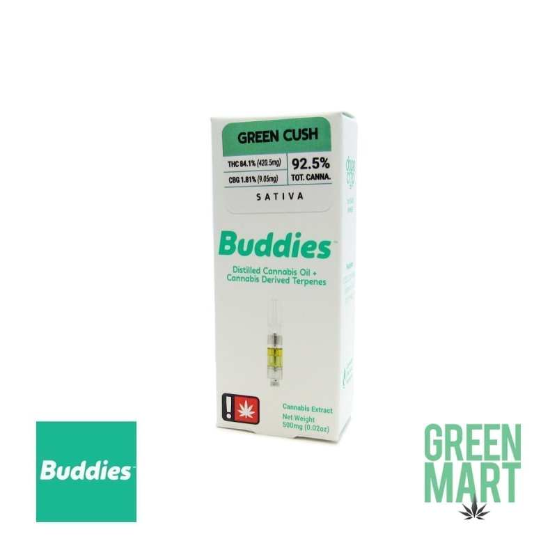 Buddies Brand Distillate Cartridge - Green Cush