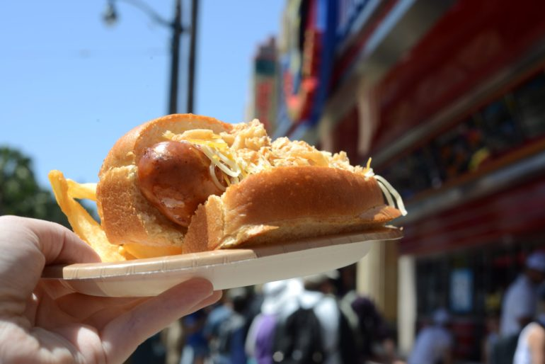 BBQ Crunch Hot Dog with crispy onions from Award Wieners in Disneyland's California Adventure