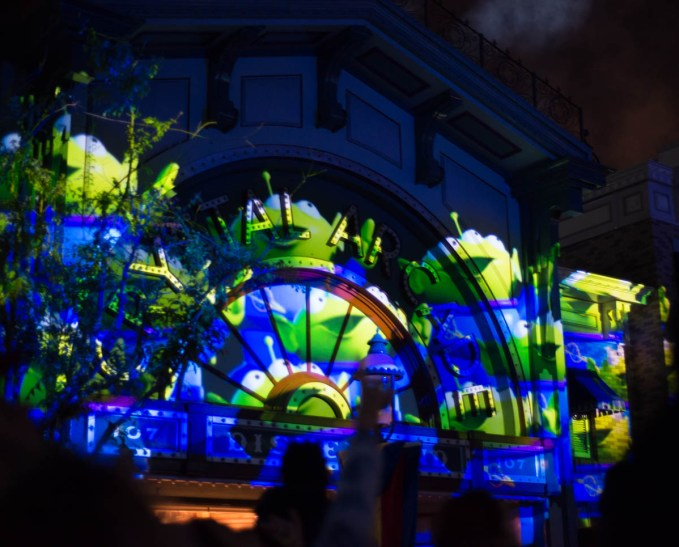 Toy Story Green Aliens Projected onto Main Street Disneyland for the Together Forever Fireworks