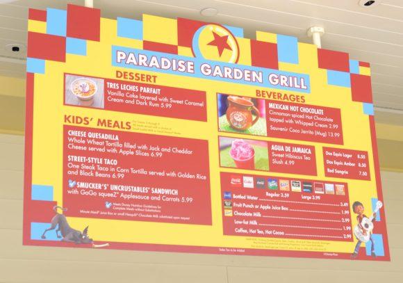 Paradise Garden Grill Special Menu at Disneyland's Pixar Fest