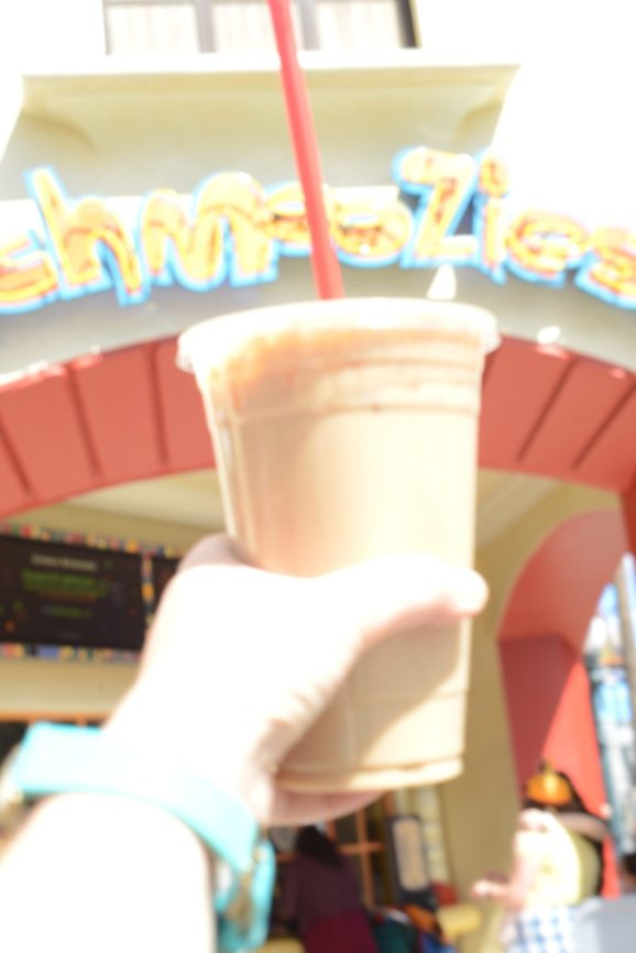 Iced Latte in front of Schmoozie's at Disneyland's California Adventure