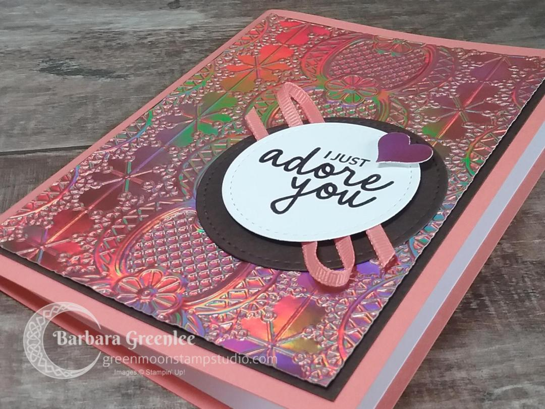Lace 3D Embossing Folder used with the Grapefruit Grove Foil paper from Sale-a-bration.