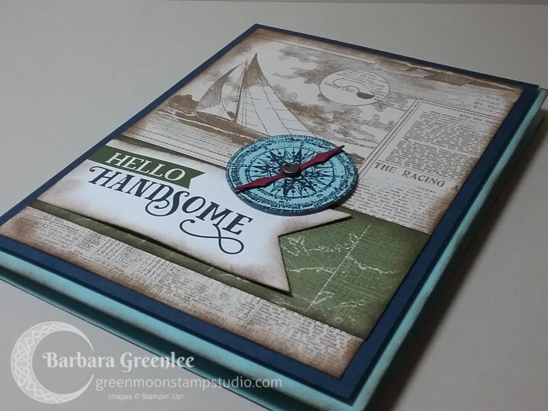 Sailing Home Hello Handsome Card using coordinating paper and memories and more cards.