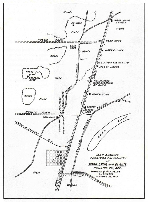 The map depicts important scenes of the Elaine Race Massacre. (Courtesy of the Butler Center for Arkansas Studies)