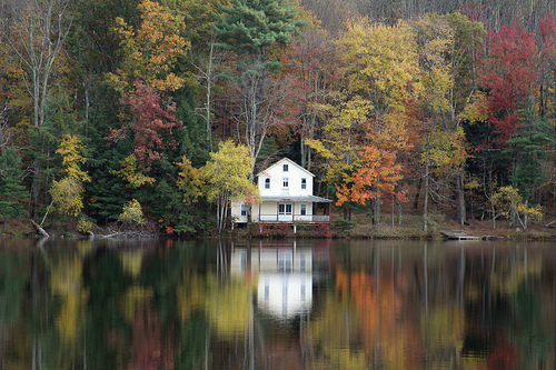 Boathouse in Autumn Rain