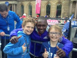 Harry and Ruby with half-marathon winner Moses Kipsiro