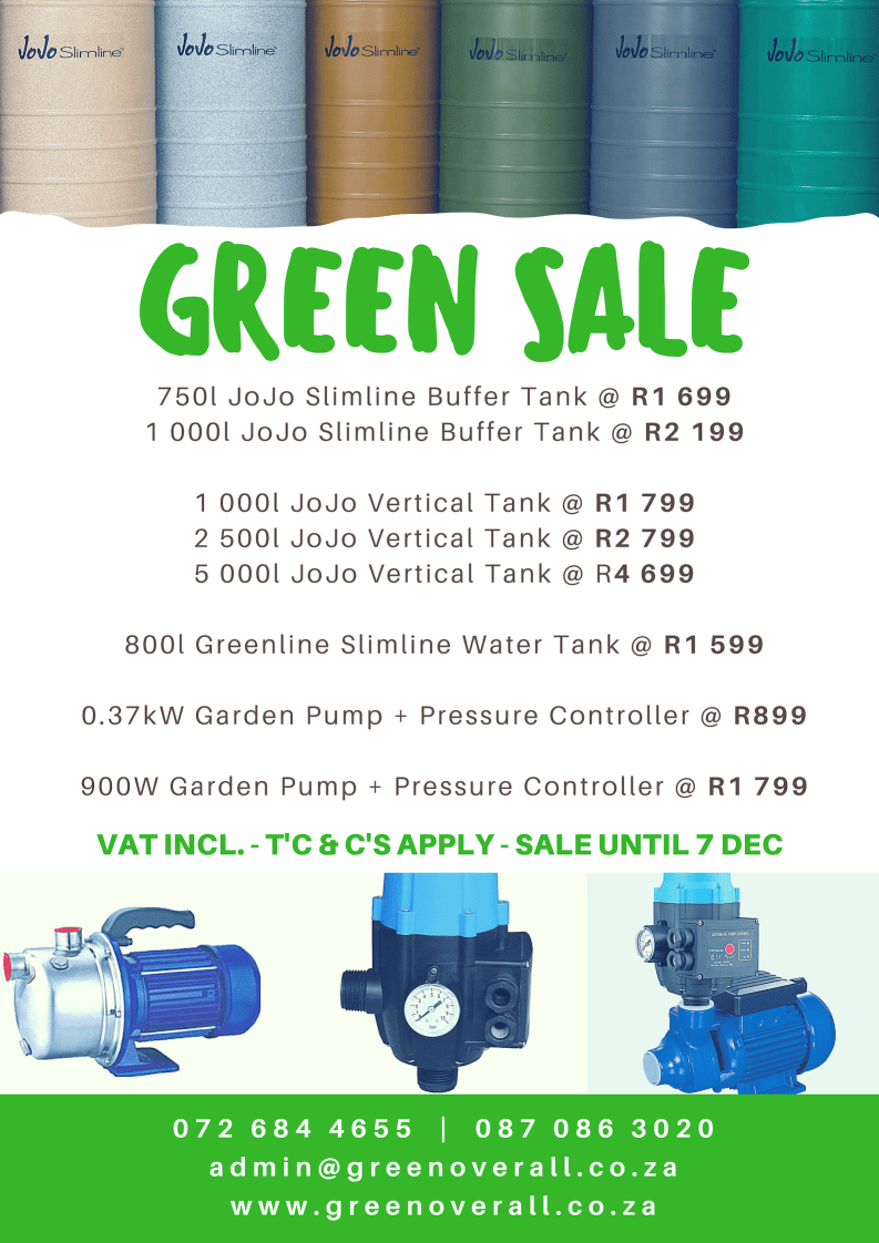 GREEN SALE!! Great offers on Slimline Water Tanks and Pumps