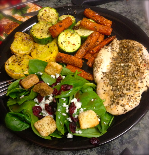 Herb Crusted Chicken, Light Spinach Salad, & Baked Veggies