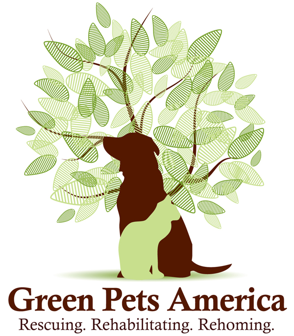 green pets america charities.Dog and cat picture, green tree