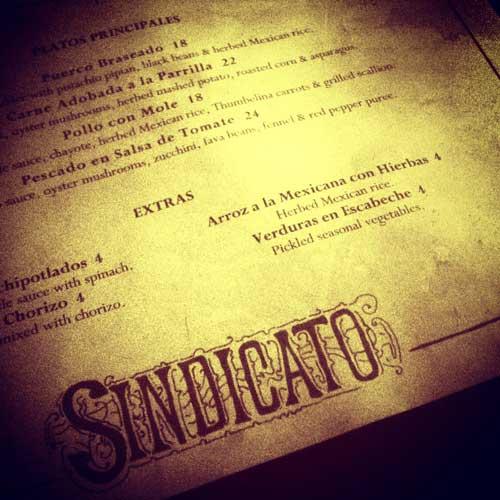 Sindicato Menu Greenpoint Mexican Tapas Restaurant