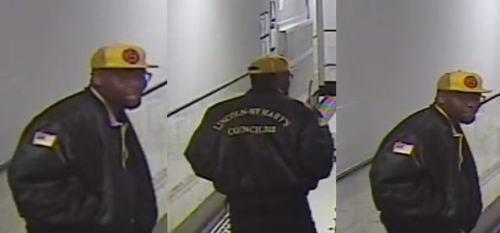 Surveillance footage of rapist inside his victim's apartment building. Photo credit: NYPD