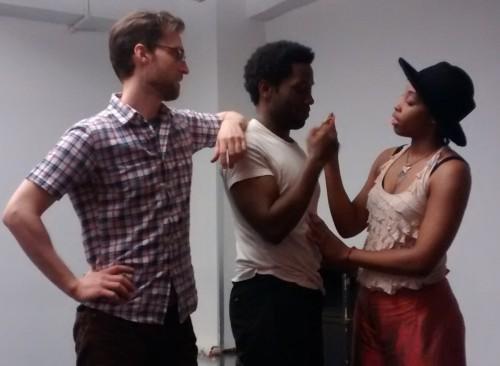 Actors Alex Major, Chinaza Uche, & LaTonia Phipps rehearsing the play ©Kate Bell