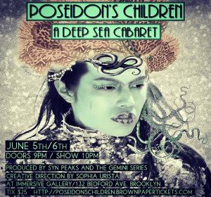 The event flyer for 'Poseidon's Children'