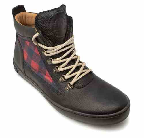 Black Red Checker Camping Boot, $129