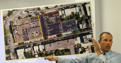 Michael Roux presents demolition plans for Lot 57 at July 15' community meeting in Greenpoint, Brooklyn; A. Simon