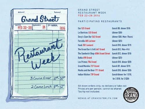 Grand Street Restaurant Week Lineup