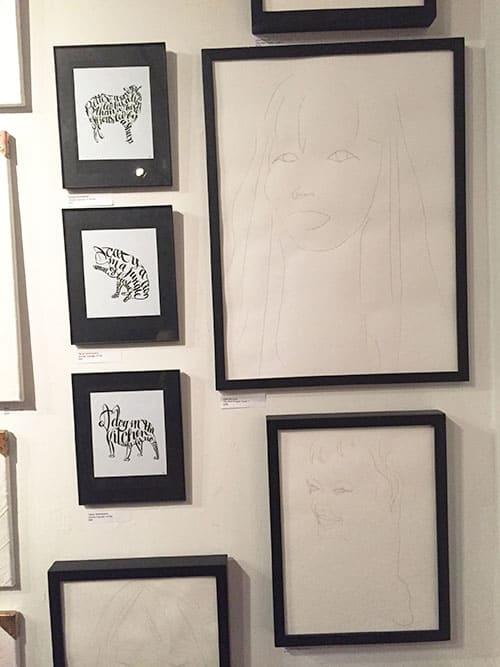 Hair sketches exhibited at Greenpoint Gallery