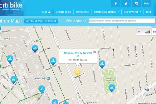Map of planned Citibike rack on Nassau Ave.