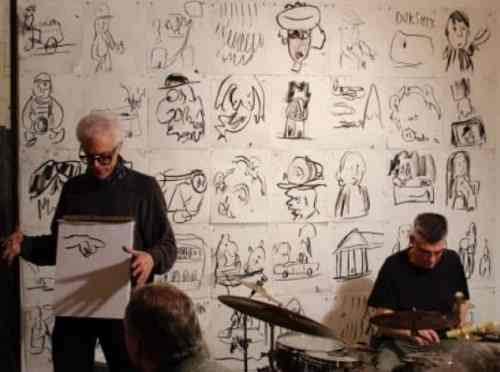Matt Freedman and Tim Spelios Endless Broken Time drumming, drawing and talking performance